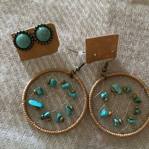NEW! Dreamcatcher and turquoise earring set